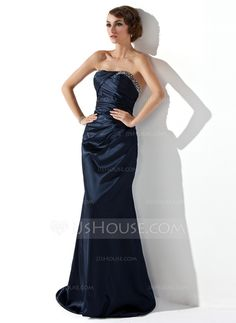 Evening Dresses - $128.99 - Trumpet/Mermaid Strapless Sweep Train Charmeuse Evening Dress With Ruffle Beading (017002275) http://jjshouse.com/Trumpet-Mermaid-Strapless-Sweep-Train-Charmeuse-Evening-Dress-With-Ruffle-Beading-017002275-g2275