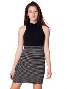 American Apparel Stripe Interlock Pencil Skirt Large Black Natural Stripe