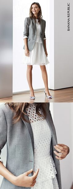 Click to buy Banana Republic's cream Geo Double Layer Lace Peplum Dress and off you go. Wear it over and over this spring—to work, to weddings, Sunday brunches, romantic date nights. Then repeat. Shop this dress (and more like it) now!