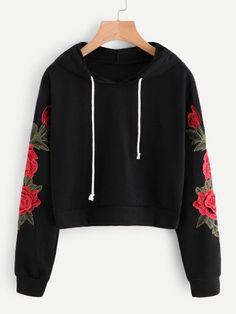Embroidered Rose Applique Sleeve HoodieFor Women-romwe