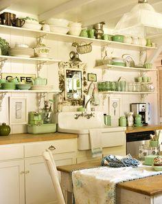 green cottage kitchen