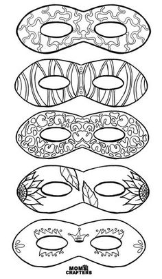 Do you love adult coloring pages but want something functional? Grab these color in masks for adults and kids - including free printables! What a brilliant activity for a Purim party, mardi gras celebration, or any tween or teen party! Love Coloring Pages, Printable Coloring Pages, Adult Coloring Pages, Carnival Crafts, Carnival Masks, Mardi Gras Mask Template, Teenager Party, Mardi Gras Activities, Jewish Crafts