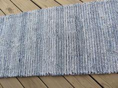SUPER SOFT Denim Chenille Runner throw rug 2feet x 6feet recycled blue jeans upcycled denim via Etsy