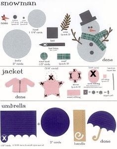 laura's frayed knot: Paper-Punch Art - Snowman, Jacket & Umbrella