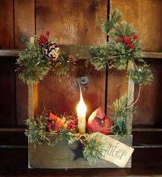 Primitive Country Christmas and Winter Handcrafted Cardinal Gathering ~ Lighted. Primitive Christmas Decorating, Primitive Country Christmas, Prim Christmas, All Things Christmas, Winter Christmas, Christmas Holidays, Christmas Wreaths, Christmas Mantels, Primitive Decor