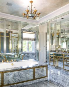 In a Italianate house, the owner requested a mix of un-lacquered brass and mirror to evoke a Roman sensibility. Interior design by… Luxury Interior, Interior Design, Bathroom Spa, Bathroom Ideas, Amazing Bathrooms, Decorating Your Home, Bathtub, Minimalist, Design Inspiration