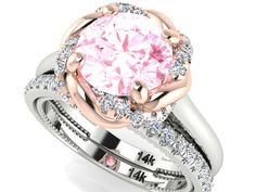 Bohemian Wedding rings set TWO TONE Bridal Ring set by BridalRings