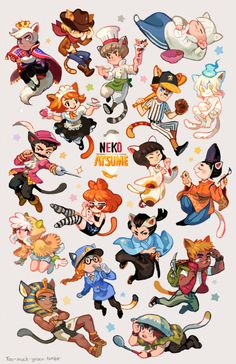 First drawing of 2016! Decided to do some gijinkas of all the rare cats from Neko Atsume. I love this game… (by too-much-green.tumblr.com)