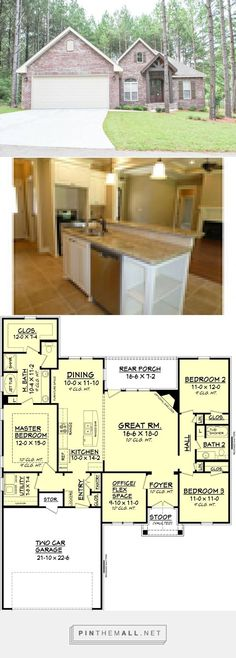 Traditional Style House Plan - 3 Beds 2 Baths 1778 Sq/Ft Plan #430-88 - created via https://pinthemall.net