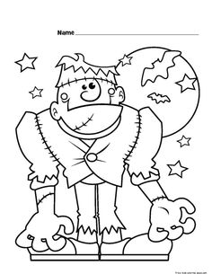 frankenstein coloring page httpwwwkidscanhavefuncomhalloween coloring pagehtm halloween coloring adult horror coloring pages pinterest - Frankenstein Coloring Sheet