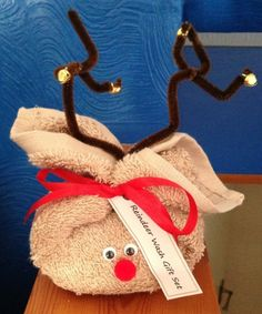 Reindeer Wash Cloth with bar of nice scented soap inside. Site also has cute Snowman