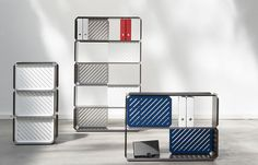 Colorful and graphic, PLANE is a modular shelving system designed by Sebastian Bergne to show off your books, decor, or food.