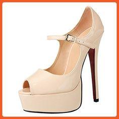 Womens Ladies Thin High Heel Platform Peep toe Ankle Strap Dress Pump Nude EU 41 US 10 - Pumps for women (*Amazon Partner-Link)