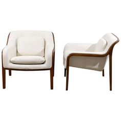 Restored Pair of Bill Stephens Walnut Lounge Chairs in Cream Leather | From a unique collection of antique and modern lounge chairs at http://www.1stdibs.com/furniture/seating/lounge-chairs/