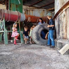 """This scene is called """"push dad in the giant tire and go nowhere"""". #didntmove #probablythetiresfault @hgtv #FixerUpper #magnoliasilos"""