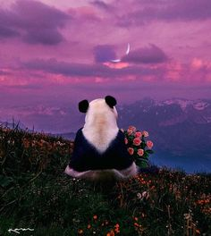 """Good afternoon my beautiful sky"" Art by on Panda Wallpapers, Cute Wallpapers, Wallpaper Wallpapers, Cute Love Cartoons, Cute Cartoon, Image Panda, Photo Panda, Pandaren Monk, Cute Panda Wallpaper"