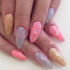 pastel stiletto nails #nail #unhas #unha #nails #unhasdecoradas #nailart #pastel