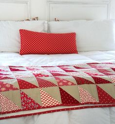 Love the red and white with the half square triangle tan....
