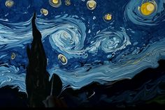 Watch an Artist Replicate 'The Starry Night' by Swirling Paint on Water | Mental Floss