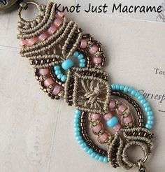 Tuquoise Coral and Khaki Beaded Micro Macrame por KnotJustMacrame, $44.99