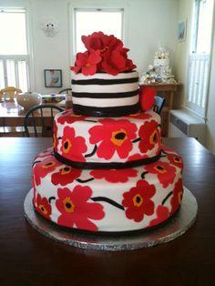 Red Poppy Wedding Cake Based on the Marimekko poppy print- this is my first wedding cake. Wedding Cake Base, Round Wedding Cakes, Pretty Cakes, Beautiful Cakes, Amazing Cakes, Fondant Cakes, Cupcake Cakes, Cupcakes, Poppy Cake