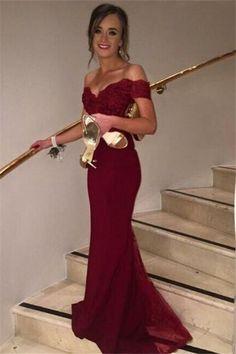 Off Shoulder Burgundy Prom Dress,Chiffon Prom Dress,Evening Dress,Formal