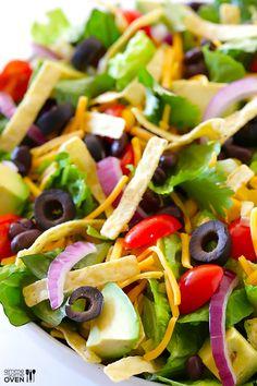 Skinny Taco Salad Recipe with Cilantro Lime Dressing