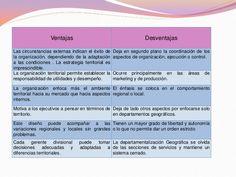 ventajas y desventajas de departamentalizacion geografica.