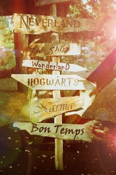 MUST MAKE SOMETHING LIKE THIS, BUT ON MINE I WOULD HAVE -Wonderland -Pixie Hollow -Neverland -Hogwarts -Diagon Alley -Platform 9 3/4 -Narnia -Forks? Hmm maybe -Panem - Perdido Beach -Terabithia There are just so many #Wooden Signs