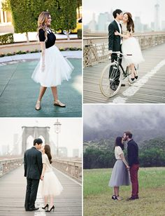 Alexandra Grecco Tulle Skirts -- LOVE these! (File this photo under sweet, natural couple poses too.)