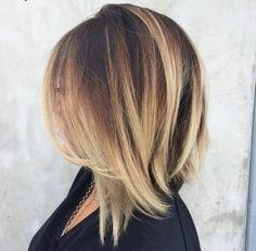 Angled long bob hairstyle