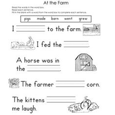 Worksheet Fill In The Blank Worksheets the ojays reading worksheets and printables on pinterest fill in blank at farm in