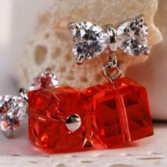 Crystal Cubic-Drop Bow Studs Red - One Size
