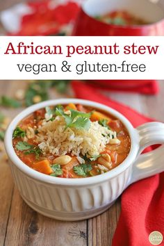 African peanut stew is a vegan & gluten-free one pot meal. This recipe includes chickpeas for an extra punch of protein. Make a big pot of stew on Sunday for easy meals throughout the week. The flavors only get better with time. Vegan Stew, Vegan Soups, Vegan Food, Vegan Dinner Recipes, Vegan Dinners, Chickpea Recipes, One Pot Meals, Easy Meals, Freeze Sweet Potatoes