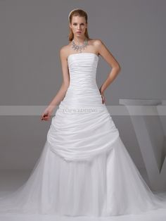 Strapless Taffeta and Tulle Wedding Gown with Beaded Neckline