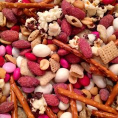 Valentine's Trail Mix: with strawberry flavored almonds, yogurt cranberries and vanilla chex! Yum
