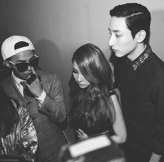 G-Dragon, CL, and Lee Soo Hyuk. Seoul Fashion Week, March 2013