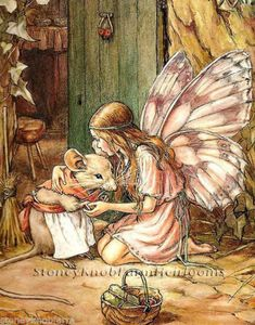 Cicely Mary Barker - Fairy and Mouse. Illustration to the poem 'A Fairy Goes A-Marketing' from 'A Little Book of Rhymes New and Old'. Cicely Mary Barker, Fantasy Kunst, Fantasy Art, Elfen Fantasy, Vintage Fairies, Flower Fairies, Fairy Art, Art And Illustration, Food Illustrations