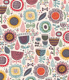 Floral primitive pattern. I love all the dots, little shapes and colours!