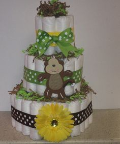 3 Tier Green Yellow Brown Monkey Diaper Cake by StorkandCo on Etsy, $48.00