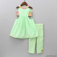 Pre Order: Green Embroidered Top With Pant Girls Frock Design, Kids Frocks Design, Baby Frocks Designs, Baby Dress Design, Kids Dress Wear, Kids Gown, Baby Girl Party Dresses, Little Girl Dresses, Kids Party Wear