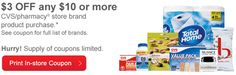CVS $3 Off $10 Printable Coupon – HURRY Limited Quantity!