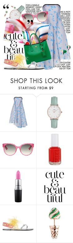 """""""Gingham Dress"""" by cultofsharon ❤ liked on Polyvore featuring Tanya Taylor, CLUSE, Gucci, Essie, MAC Cosmetics, WALL, Prada and ban.do"""