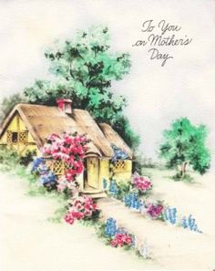 Greeting card with a cottage.