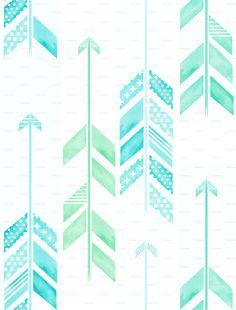 Mint Green Tribal Wallpaper Arrows in blue & green