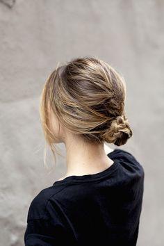 Messy braided bun.