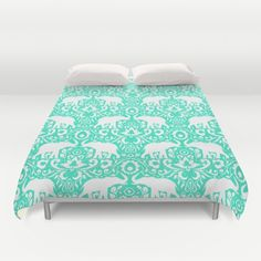 Elephant Damask Mint Duvet Cover