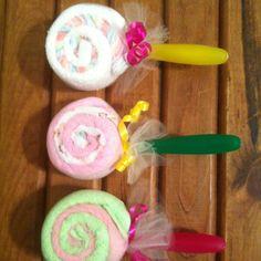Lollipop wash cloths