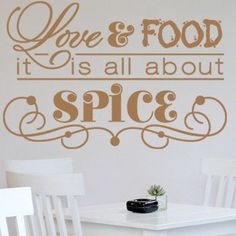 "Style and Apply Love and Food Wall Decal Size: 39"" H x 59"" W, Color: Royal Blue"
