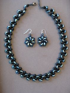 Black Pearl and Jet AB Zoliduo Handcrafted Beaded Necklace and Earrings by PamsUNIQUEjewelry on Etsy